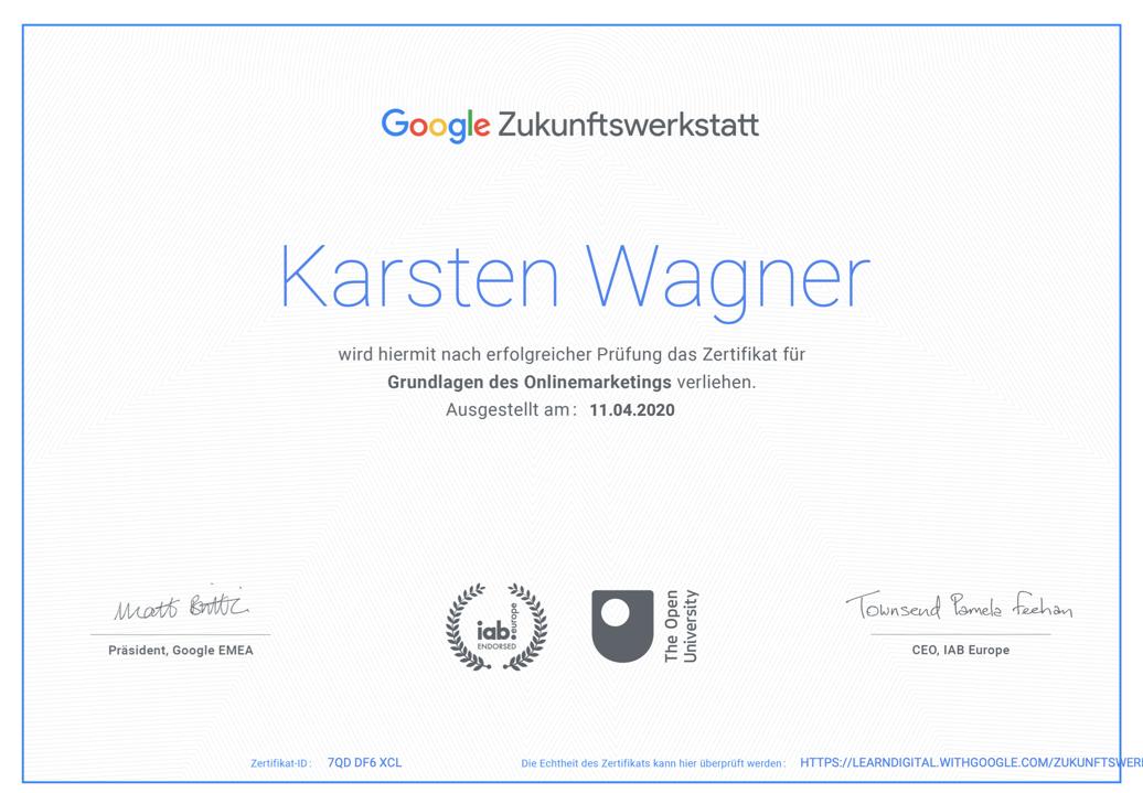 Zertifikat Google Zukunftswerkstatt Karsten Wagner Xanadu Evolution